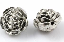 Grote metallook kraal roos 24 mm per 20 stuks