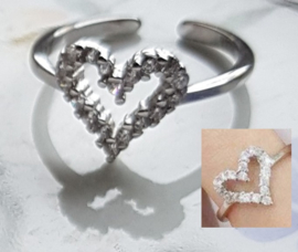 Ring Hart met Zirconia, verstelbaar, per stuk