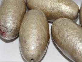 Paper Mache Olive 40x18mm Grey, per stuk