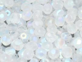 00030/28773Fire polished 4mm Crystal Full AB Matted, 100, of 50 stuks, vanaf