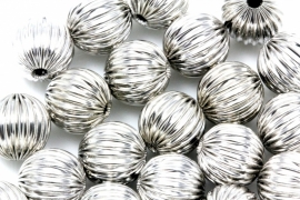 Zilverkleurige corrugated Beads, Platinum Color, Round, 10mm per 50 stuks
