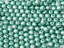 Tsjechisch/Czech rond 3mm Alabaster Metallic Emerald, per 100 stuks