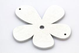 Hanger 45x50mm Hout Bloem Wit, per stuk