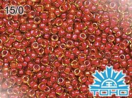 TR15-0303 TOHO 15/0 Inside-Color Jonquil/Hyacinth Lined, doosje van 5g