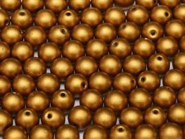 Tsjechisch/Czech rond 6mm Brass Gold, per 30 stuks