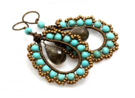 Oorhangers Vintaj Wire en Briolette Smokey Topaz/Turquoise