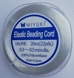 H639E Miyuki Elastiek Wit ca 0,3mm-0,5mm, per klosje van 20 meter