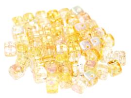 Crisscross Cubes Crystal Yellow Rainbow, per 30 stuks