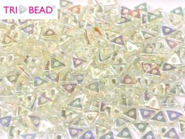 Tri-bead Crystal Green Rainbow, per 5 gram (±140 stuks)