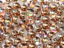 Tsjechisch/Czech rond 6mm Crystal Copper Rainbow, per 30 stuks