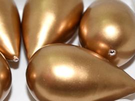 Paper Mache Drop 40x23mm Gold, per stuk