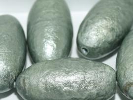 Paper Mache Olive 40x18mm Jeansblue, per stuk