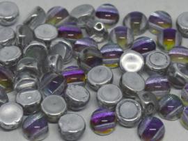 2-Hole Cabochon 6mm Crystal Underlit Petroleum, per 25 stuks