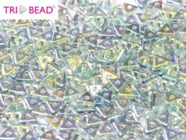 Tri-bead Crystal Blue Rainbow, per 5 gram (±140 stuks)