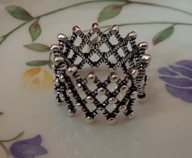 Ring  met rasterpatroon, verstelbaar, per stuk