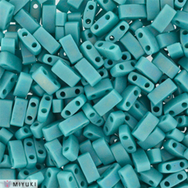 HTL-0412FR Half Tila Beads Opaque Turquoise Green Matted AB, per 5 gram