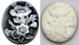 20x25mm ovaal flowers zwart/wit en wit, per stuk