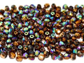 00030/98556 Fire polished 3mm Crystal Glittery Bronze, 100 of 50 stuks, vanaf