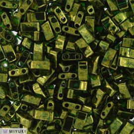 HTL-0306 Half Tila Beads Olive Green Gold Luster, per 5 gram