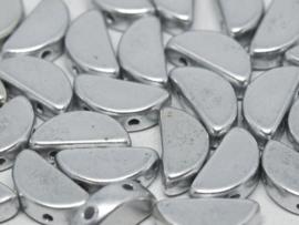 Semi Circle Beads Aluminium Silver, per 10 stuks