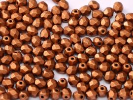 01750Fire polished 4mm Copper, 100, of 50 stuks, vanaf