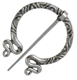 Sjaalspeld zilverkleurig, 5,4x5,7cm, naald 6,5cm, per stuk