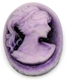 13x18mm ovaal vrouw met paardenstaart paars/wit en zeegroen/wit, per stuk