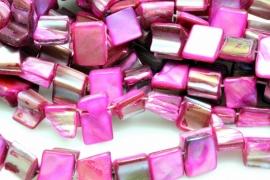 Schelp Kraal ±8mm Baroque Blokje Paars-Roze, per 40 stuks