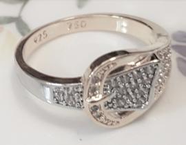 Ring Riem met Gesp, zilver/goudkleur, maat 9/19mm, per stuk