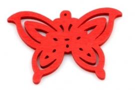 Hanger 50x35mm Hout Vlinder Rood, per stuk