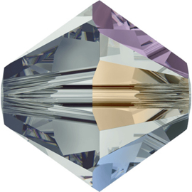 Swarovski #5328 4mm Black Diamond AB, per 50 of 2 stuks, vanaf