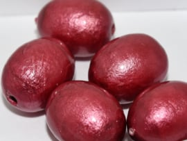 Paper Mache Olive 24x18mm Bordeaux, per stuk