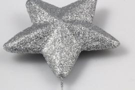 Hanger dikke ster aan ijzerdraad 1 zilver + 1 goud 7cm