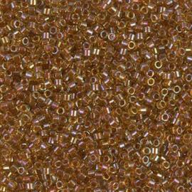 DB1735 Miyuki Delica 11/0 Transparent Sparkling Dark Topaz-lined Chartreuse AB, per 5 gram
