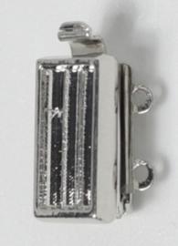 14843/02 Neumann Claspgarten 13x7mm Schuifslot met 2 ogen Rhodium Plated, per stuk
