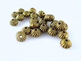 Tibetaans bronzen kraaltjes discvorm 473y 6 bij 4mm per 10 gram ongeveer 20 stuks