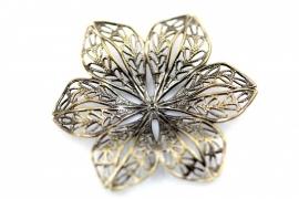 Filligraan bloem ornament antiek Brons 42mm per stuk