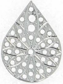 Neumann Claspgarten Filigraan Drop 30x21mm Rhodium Plated, per stuk