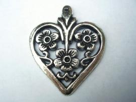 Hanger hart bloemen 40 bij 34mm 627y