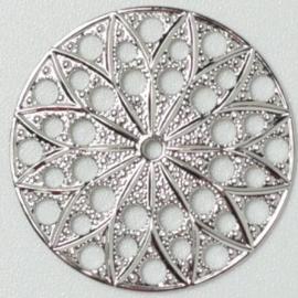 Neumann Claspgarten Filigraan Rond 22mm Rhodium Plated, per stuk