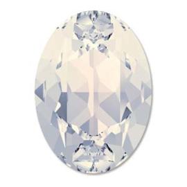 Swarovski #4120 8x6mm White Opal, foiled, per 10 stuks of 1 stuk, vanaf