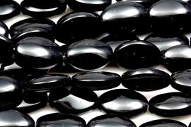 Kraal 13x19mm Glas Zwart Ovaal, per stuk
