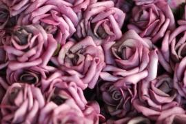 Roos foam ±4cm Roze met vleugje Paars, per 5 stuks