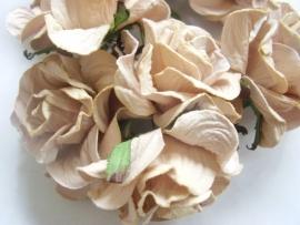 Roos 3,75cm Mulberry papier Taupe/Camel papier S3-148, per 3 stuks