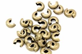Knijpkraalverberger antiek brons 3 mm bij 1.5 mm per 5 gram ongeveer 120 stuks