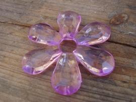 Acryl grote bloem lila 5 cm per stuk