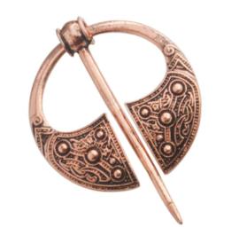 Sjaalspeld bronskleur, Ø 3,8cm, naald 5,8cm