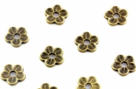 Kraalkapje / spacer brons platte bloem 10 x1.5 mm per 100 gram ongeveer 200 stuks