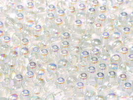 Tsjechisch/Czech rond Beads 4 mm Crystal Blue Rainbow, per 100 stuks