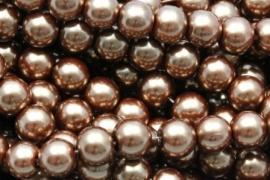 Glasparel 8mm bruin goud per 10 stuks
